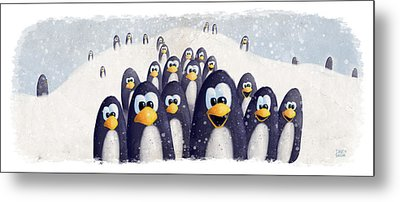 Penguin Winter Metal Print by David Breeding