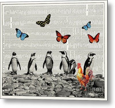 Penguins And Butterflies Metal Print