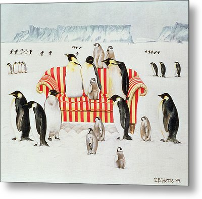 Penguins On A Red And White Sofa  Metal Print