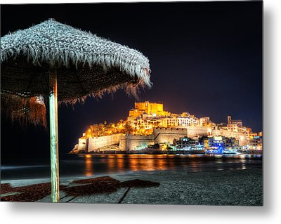 Peniscola Umbrella-spain Metal Print