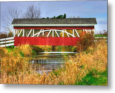Pennsylvania Country Roads - Oregon Dairy Covered Bridge Over Shirks Run - Lancaster County Metal Print