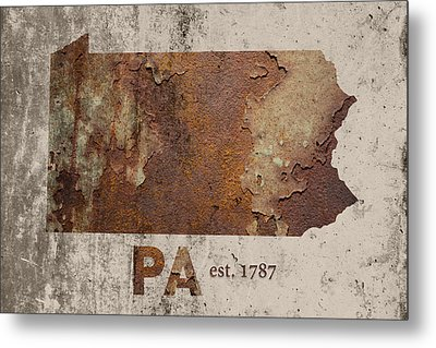 Pennsylvania State Map Industrial Rusted Metal On Cement Wall With Founding Date Series 011 Metal Print by Design Turnpike