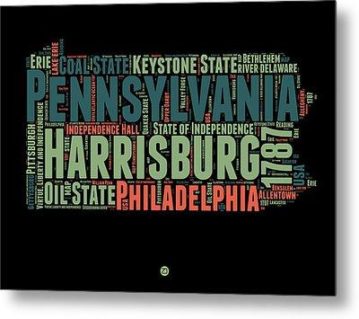 Pennsylvania Word Cloud Map 1 Metal Print