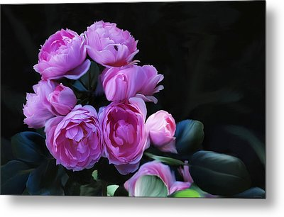 Metal Print featuring the painting Peoni Cluster by Elaine Manley