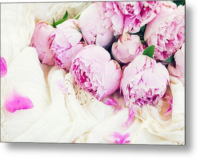 Peonies And Wedding Dress Metal Print
