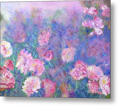 Metal Print featuring the painting Peonies by Claire Bull