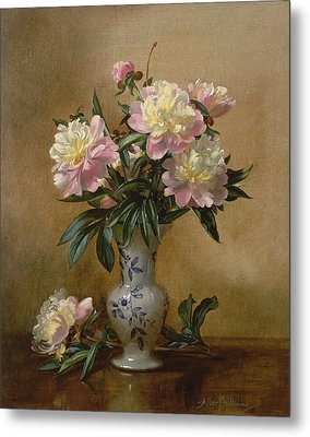 Peonies In A Blue And White Vase Metal Print