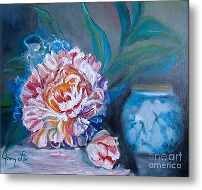 Metal Print featuring the painting Peony And Chinese Vase by Jenny Lee