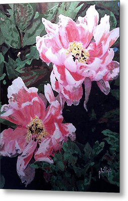 Metal Print featuring the painting Peony Blooms by Jim Phillips