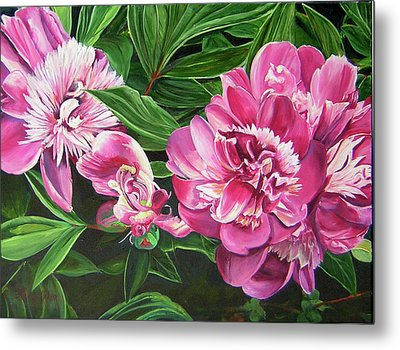 Metal Print featuring the painting Peony Trilogy by Lee Nixon