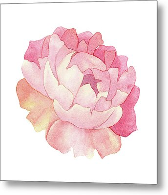 Metal Print featuring the painting Peony Watercolor  by Taylan Apukovska
