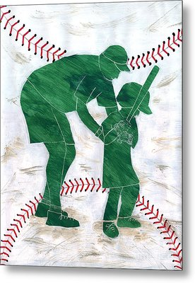 People At Work - The Little League Coach Metal Print by Lori Kingston