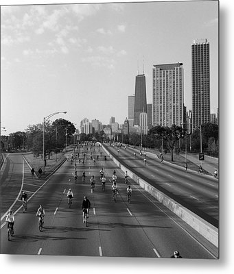 People Cycling On A Road, Bike The Metal Print by Panoramic Images