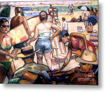 People On The Beach Metal Print by Stan Esson