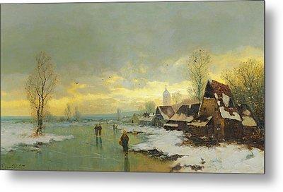 People Walking On A Frozen River  Metal Print by Johann II Jungblut
