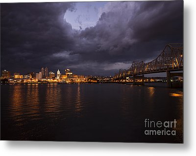 Peoria Stormy Cityscape Metal Print by Andrea Silies