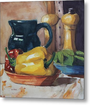 Peppers And Jug Metal Print