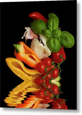 Metal Print featuring the photograph Peppers Basil Tomatoes Garlic by David French