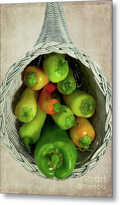 Metal Print featuring the photograph Peppers In A Horn Of Plenty Basket by Dan Carmichael