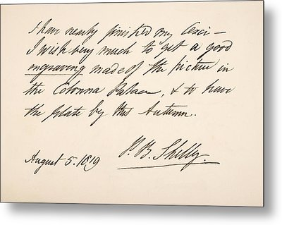 Percy Bysshe Shelley, 1792 Metal Print