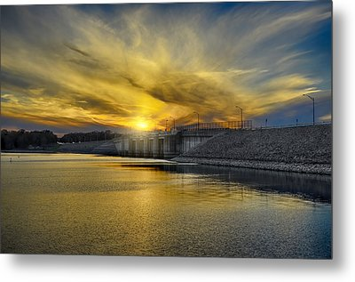 Percy Priest Dam At Sunset Metal Print by Steven  Michael