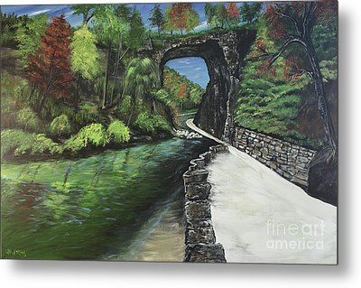 Perfect Fall Day At Natural Bridge Virginia Metal Print by Katie Adkins