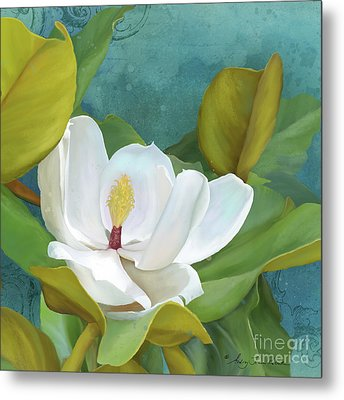 Metal Print featuring the painting Perfection - Magnolia Blossom Floral by Audrey Jeanne Roberts