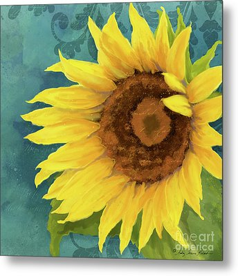 Metal Print featuring the painting Perfection - Russian Mammoth Sunflower by Audrey Jeanne Roberts