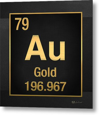 Periodic Table Of Elements - Gold - Au - Gold On Black Metal Print
