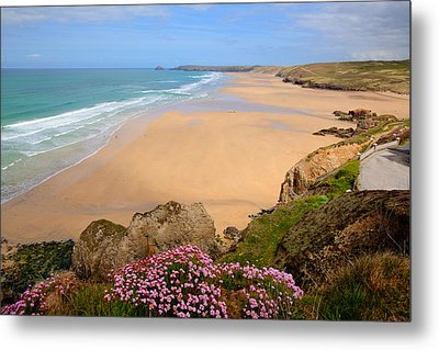 Perranporth Beach North Cornwall England One Of The Best Surfing Beaches In The Uk Metal Print by Michael Charles