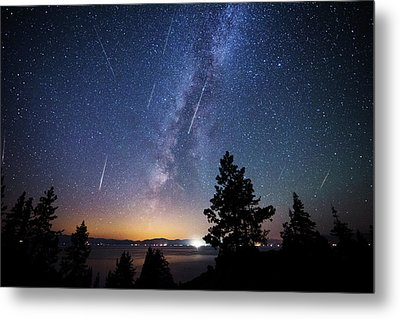 Metal Print featuring the photograph Perseid Meteor Shower From Tahoe by Brad Scott