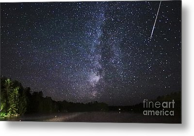 Perseids Meteor Shower Over Cottage Country Metal Print by Charline Xia