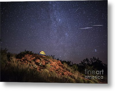 Perseids Over Caprock Canyons Metal Print by Melany Sarafis