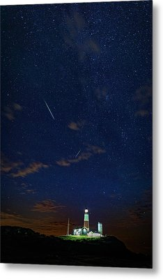 Perseids Over Montauk Point Metal Print by Rick Berk