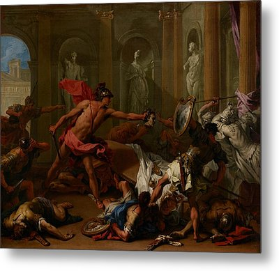 Perseus Confronting Phineus With The Head Of Medusa Metal Print
