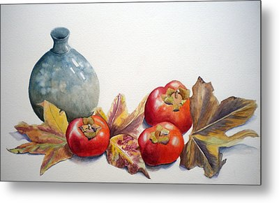 Metal Print featuring the painting Persimmon Trio by Sandy Fisher