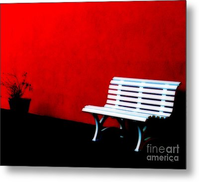 Perspective In Bench White   Metal Print by Steven  Digman