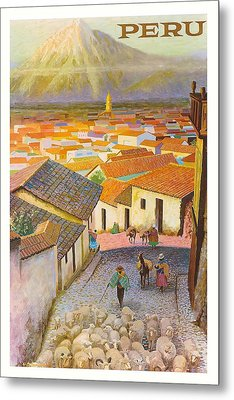 Peru El Misti Volcano Vintage Travel Poster Metal Print