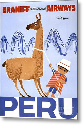 Peru Vintage Travel Poster Restored Metal Print