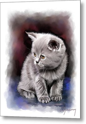 Pet Cat Portrait Metal Print by Michael Greenaway