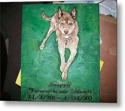 Pet Portrait Wood Burn Wall Plaque U Provide Picture By Pigatopia Metal Print by Shannon Ivins