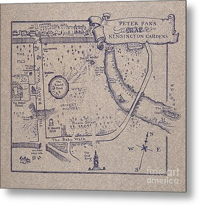 Peter Pan's Map Of Kensington Gardens Metal Print