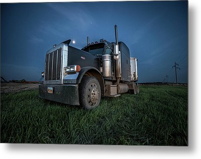Peterbilt Moon Metal Print by Aaron J Groen