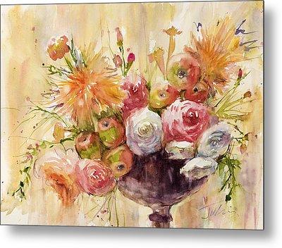 Petite Apples In Floral Metal Print by Judith Levins