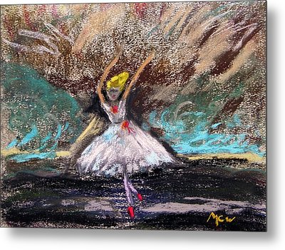 Metal Print featuring the painting Petite Ballerina by Mary Carol Williams