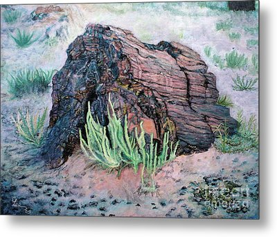 Metal Print featuring the painting Petrified Log In Arizona by Cindy Lee Longhini