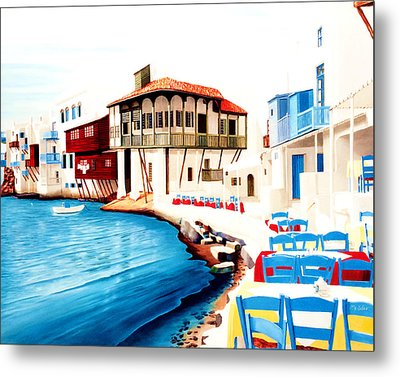 Mykonos Town, Little Venice  Metal Print by Mary Grden's Baywood Gallery
