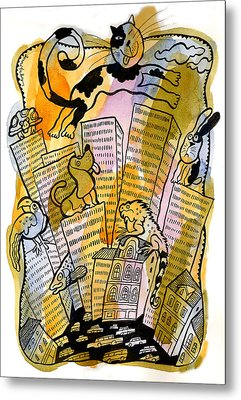 Pets And The City Metal Print by Leon Zernitsky