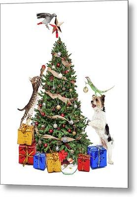 Pets Decorating Christmas Tree Metal Print