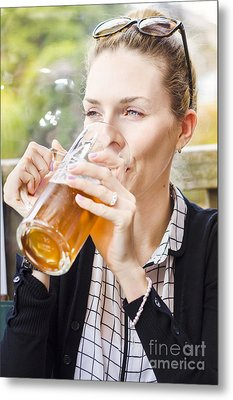 Petty Woman Drinking Beer Stein During Oktoberfest Metal Print by Jorgo Photography - Wall Art Gallery